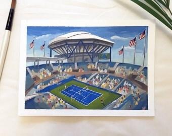 Original US open tennis painting / Arthur Ashe Stadium painting / Tennis painting
