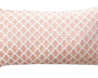 Scalamandre Samarinda Ikat blush lumbar decorative pillow, designer pillow cover with brush fringe