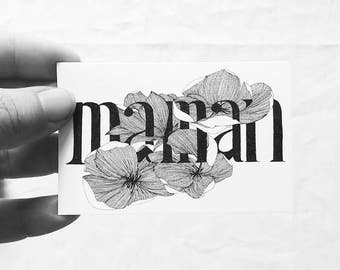 MOM - Illustrated card with message - hand drawing - magnolia - mothers day - limited edition - monocot