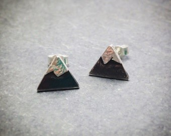 Silver oxidised Mountain studs