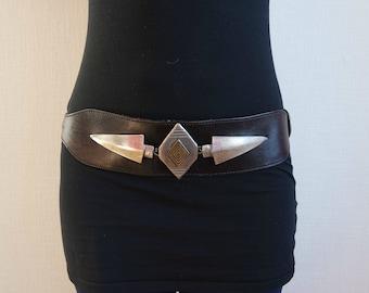 Vintage Dark Brown Leather Belt, Rockabilly Belt, Hips Belt, Waist Belt