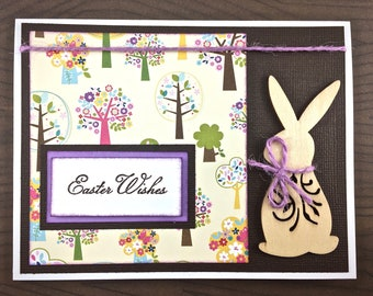 Easter Card - Easter Bunny - Spring Card - Tree Card - Easter Wishes