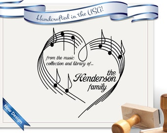 Music Library or Musician Stamp -  Records, CDs, Invitations, Recitals - Perfect Gift, Housewarming, Wedding & Christmas - SKU 1333