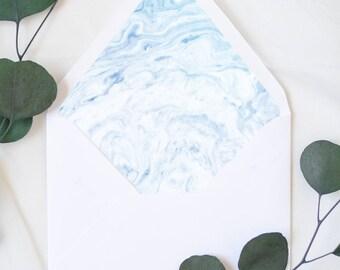 Blue and White Marble Watercolor Envelope Liner, Digital Download, Envelope Template, Marble Stationery, DIY Envelope, Printable Envelope