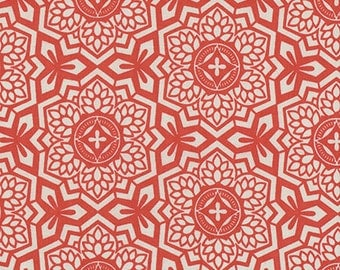 Joel Dewberry Botanique Mosaic Bloom in Sunset freespirit cotton quilting orange red geometric fabric material by the metre yard