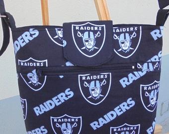 Raiders / Crossbody Bag / Cell phone Bag / Zippered pocket / shoulder bag / Sports Themed / Adjustable Strap