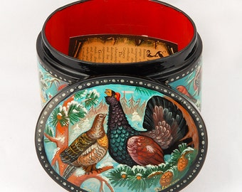 "Russian lacquer miniature painting ""Russian birds"" capercaillie hand made box Kholui folk Art"