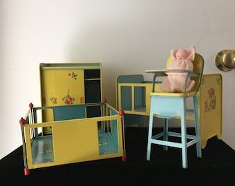 J. Chein Tin Litho Nursery Set- 1950