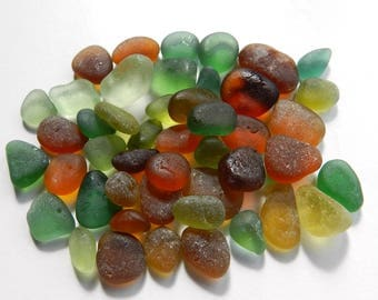 Autumnal Fall Shades Sea Glass Pieces in Smaller Sizes