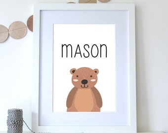 Baby Name Print With Bear, Custom Name Nursery Print, Baby Shower, Woodland Bear Art, Personalized Baby Gift, Baby Welcome Sign - (D154)