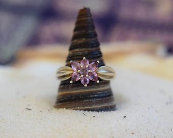 Pink Gemstone Cluster Silver 925 Ring, US Size 7.0, Used Vintage Jewelry