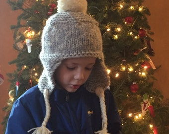 Clearance Kids Trapper Hat, Kids Knit Hat, Knit Hat with Ear Flaps, Boys Knitted Hat, Boys Knit Hat, Winter Hat, Holiday Gift, Stocking Stuf