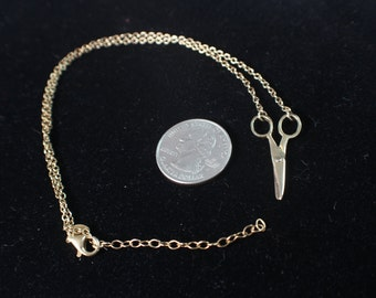 "Dyadema Sterling Silver Gold Tone Scissors Necklace, 14"" Chain, Scissors Necklace, Ships FREE! LT"