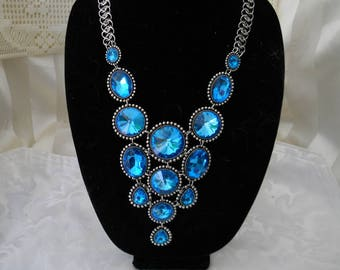 Glass Blue Statement Bib Necklace #2 04