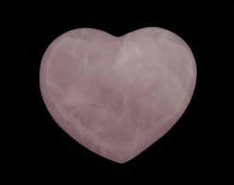 Large Pink Rose Quartz Puffy Heart Hand Carved Gemstone With Free Pouch