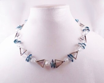 Silver tone Triangles and Blue Circles Necklace