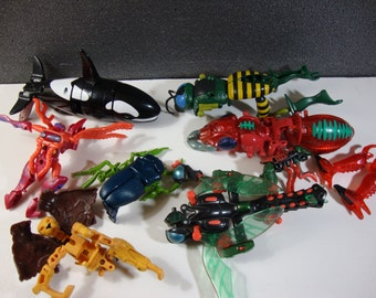 Vintage Transformers Beast Wars Lot of Incomplete Figures and Parts Orcanoch, Jetstorm, and More!
