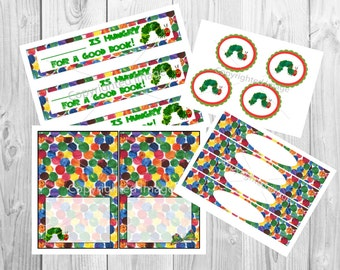 The Very Hungry Caterpillar Birthday Party Set Bookmarkers Cupcake Toppers Bag Tags Food Labels Water Bottle Labels