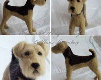 Needle felted Airedale Terrier,Pet portrait, Airedale terrier