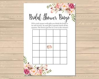 Boho Bridal Shower Bingo Game, Printable Floral Bingo Activity, Boho Floral Bridal Shower Bingo Cards, Instant Download, DIY, 110-W