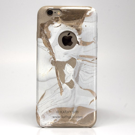 Gold White Leather Case for iPhone 6