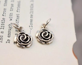 2 pcs sterling silver flower charm pendant rose , YQ1