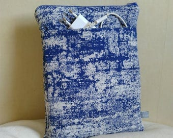 Cover iPad Tablet 10 inch blue and white tones jacquard canvas