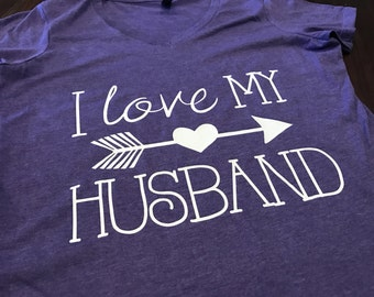 I Love My Husband Design on Short Sleeve V-Neck T-Shirt