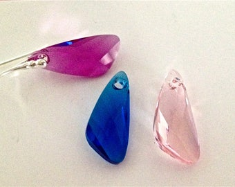 23mm Wing 5 colours Swarovski Elements earrings with Sterling Silver Hooks - CHOOSE COLOUR