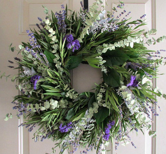 "24"" wreath, eucalyptus wreath, spiral eucalyptus wreath, purple wreath, leaf wreath, seeded eucalyptus, lavender wreath, fragrant wreath"