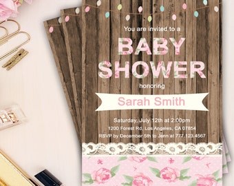 rustic baby shower invitation, baby shower girl invitation, vintage girl baby shower invitation, rustic floral baby shower invites