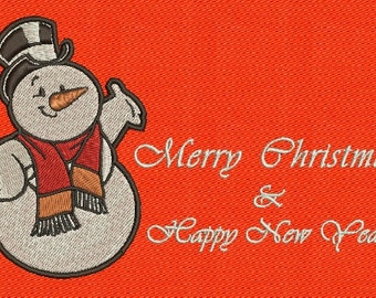 Snowman Merry Christmas Machine Embroidery Design 2 Sizes