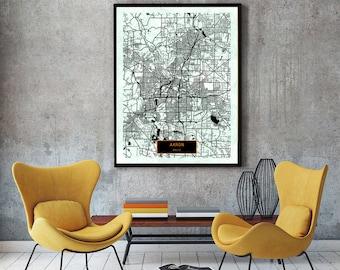 Akron Ohio City Map Akron Ohio Art Print Akron Ohio Poster Akron Ohio Map Art United