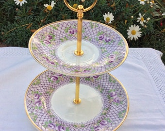 Sale 2 tier Vintage cake stand,  30 percent off, Purple floral theme,macaron stand, for that special occasion