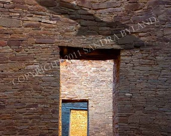 CHACO CANYON PHOTO Signed Fine Art Giclee Print Anasazi Photo Spiritual Art Eagle Art Chaco Canyon Anasazi Pueblo Bonito Brown Blue Yellow