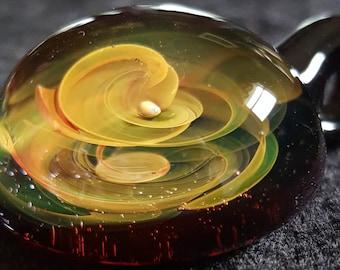 Gold and silver Fumetrap Miniverse boro Pendant