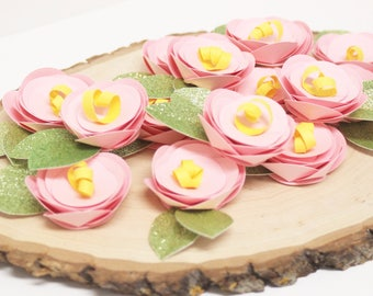 Individual flowers//fairy garden decor//tea party//cupcake toppers//paper flowers