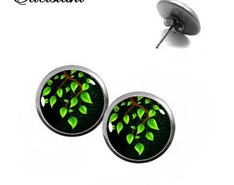 Earrings stainless steel cabochon jewelry green branch