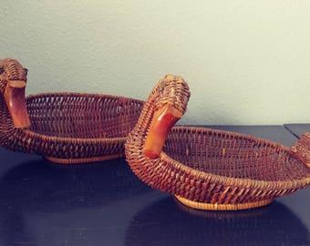 Vintage Wicker Nesting Duck Baskets