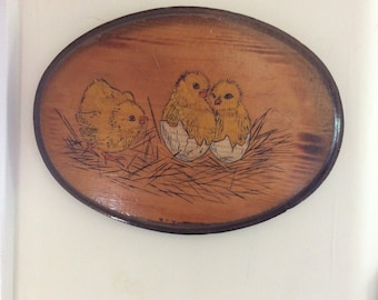 Antique Farm House Folk Art Plaque, Carved Wood and Painted, Chicks Coming out of Eggs, Signed,