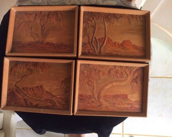 REFUCED!  Vintage Wood Carved and Tinted Picture Set by Australian Artist Alice Todd, Signed