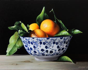 Bowl with tangerines, still life painting, original oil painting, tangerines painting, still life with tangerines