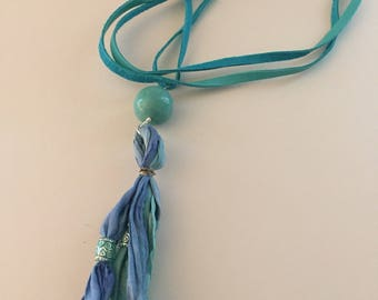 Recycled Silk Tassel Necklace