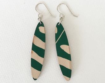 Wooden earrings--green jungle print