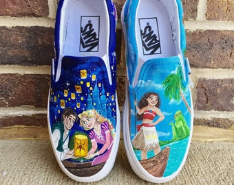 Disney Tangled and Moana painted shoes
