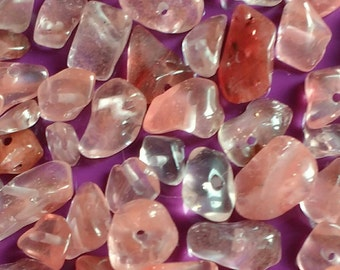70x agate beads pink cherry quartz nugget genuine clear gemstones chips polished pebble crystals 12.5g raw handmade jewellery making UK