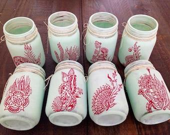 Mason jar/ candle holder/ hand painted/ henna design