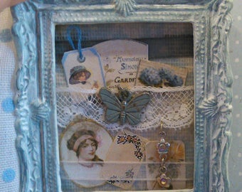 Shabby chic picture, soft blue and white. Romantic decoration