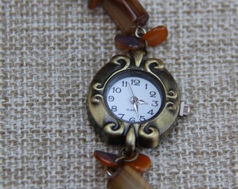 Agate bracelet watch with rose petals Czech glass earthy brown