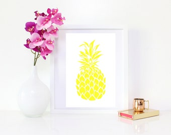 DIGITAL DOWNLOAD,  Yellow Pineapple, Pineapple wall decor, Tropical Art, Pineapple Art, Pineapple, Yellow Pineapple Art, Tropical